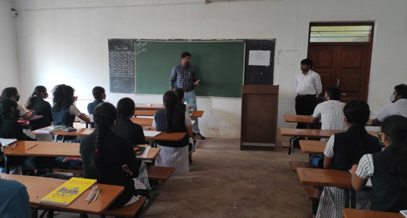 Career guidance program to science students by resource person from Mysore Date: 23.01.2021